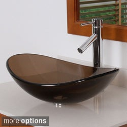 ELITE 70072659 Oval-design Tempered Glass Bathroom Vessel Sink and Faucet Combo