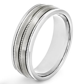 Titanium Milgrain Satin Finish Band Ring