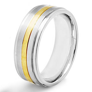 Stainless Steel Brushed and Polished Goldplated Band