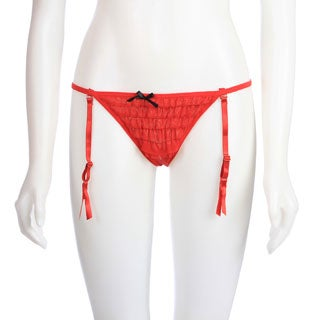 Crotchless Rumba Thong w/Removable Garters in Red by Rene Rofe