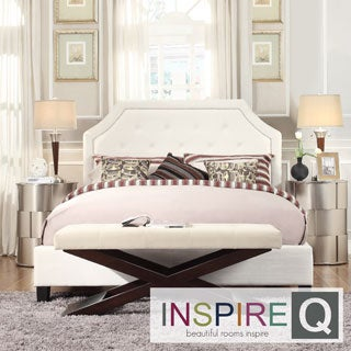 INSPIRE Q Grace White Linen Arched Bridge Top Queen-sized Bed