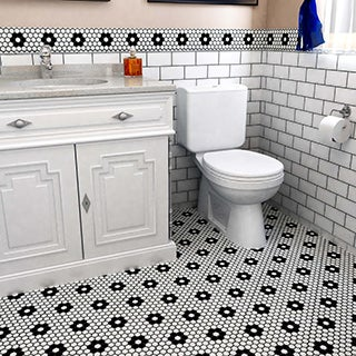 SomerTile 10.25x11.75-inch Victorian Hex Matte White Heavy Flower Porcelain Mosaic Floor and Wall Ti