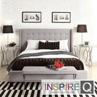 INSPIRE Q Marion Grey Linen Nailhead Wingback Tufted Upholstered Bed