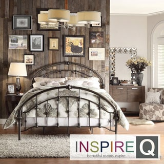 INSPIRE Q Lacey Round Curved Double Top Arches Victorian King-size Antique Dark Bronze Iron Metal Bed