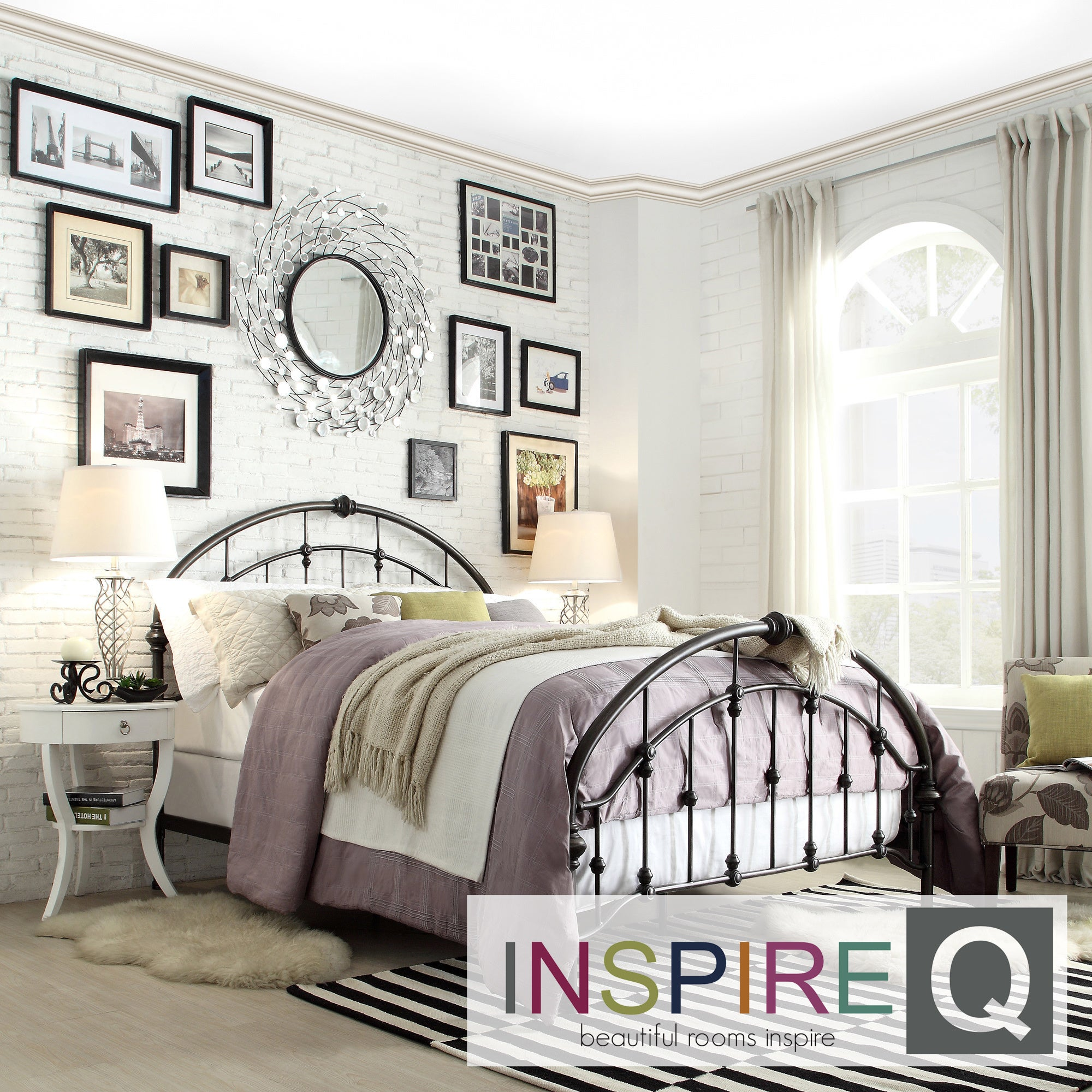 Inspire Q Lamar Round Curved Double Top Arches Victorian Iron Metal Bed