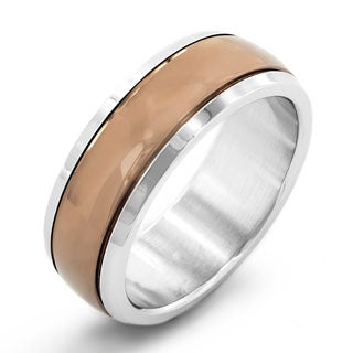 Two-tone Stainless Steel Men's Coffee-colored Dome Band