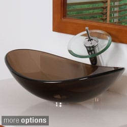 Elite Oval Design Tempered Glass Bathroom Vessel Sink and Waterfall Faucet Combo