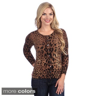Ply Cashmere Women's Animal Print Cashmere Cardigan