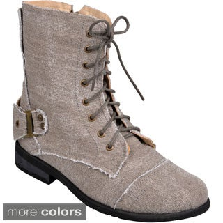 Hailey Jeans Co. Women's 'Zafrina' Lace-Up Buckle-Strap Combat Boots