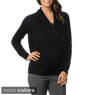 Ply Cashmere Women's V-neck 1-button Wrap Cardigan