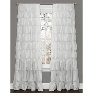 Lush Decor Ruffle White 84-inch Curtain Panel