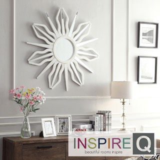 Inspire Q Nihoa Silver Finish Starburst Rays Accent Wall Mirror