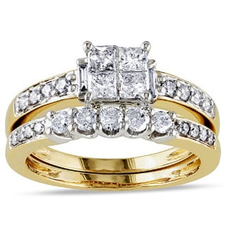 Miadora Signature Collection 14k Yellow Gold 1ct TDW Diamond Bridal Ring Set (G-H, I1-I2)