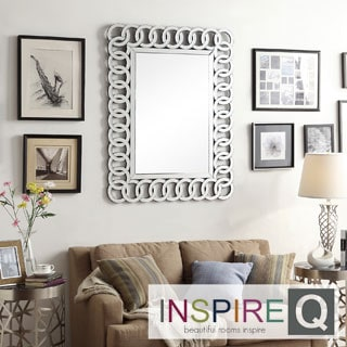 Inspire Q Nihoa Silver Interlocking Rings Rectangular Accent Wall Mirror