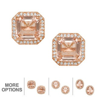 Jenne Rose Gold/ Silver Simulated Morganite and Created Sapphire Earrings