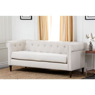 Abbyson Living Colin White Tufted Fabric Sofa
