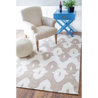 nuLOOM Hand-hooked White/ Gray Wool-blend Area Rug (7'6 x 9'6)