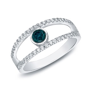 Auriya 14k White Gold 1/2ct TDW Blue and White Bezel Diamond Ring (H-I, SI1-SI2)