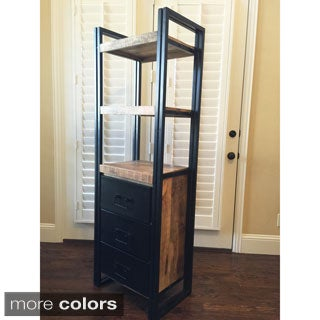 Timbergirl Handcrafted Reclaimed Wood Tall Rack and Silver Metal Drawers (India)