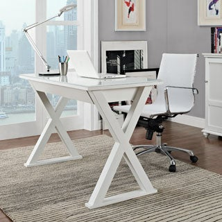 48 in. White Glass Metal Computer Desk