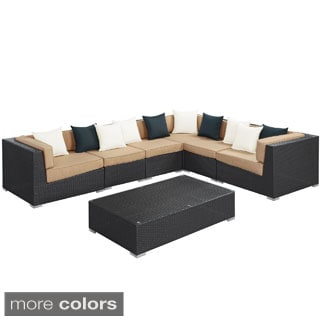 Lambid Outdoor Patio 7-piece Espresso Sectional Set