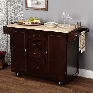 Espresso/Natural Country Cottage Kitchen Cart