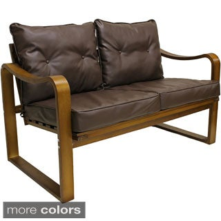 Stockholm Bentwood Faux Leather Slatted Back Settee/ Bench with Seat and Back Cushions