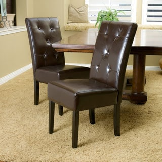 Christopher Knight Home Taylor Brown Bonded Leather Dining Chair (Set of 2)