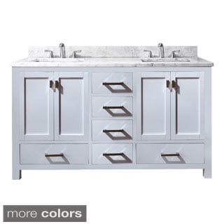 Avanity Modero 60-inch Double Vanity in White Finish with Dual Sinks and Top