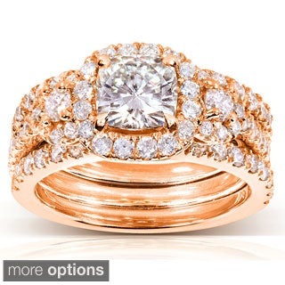 Annello 14k Gold Cushion-cut Moissanite and 1 1/3 ct TDW Diamond Bridal Ring Set (G-H, I1-I2)