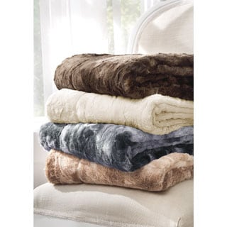 Brielle Faux Fur Reversible Throw With Gift Box