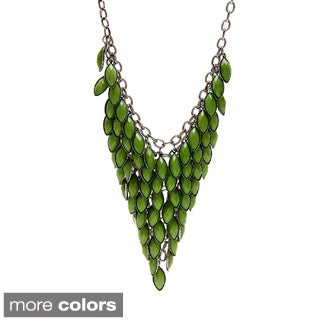 Alexa Starr Bronzetone or Hematite-colored Lucite Bib Necklace