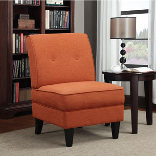 Portfolio Engle Orange Linen Armless Chair