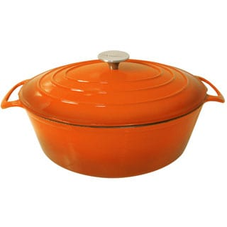 Le Cuistot Vieille France Enameled Cast-iron Bright Orange Oval Dutch Oven