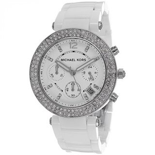 Michael Kors Women's MK5654 'Parker' White Ceramic Chronograph Watch