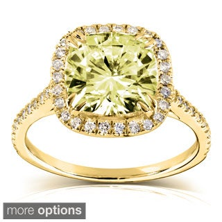14k Gold Yellow Cushion-cut Moissanite and 1/4ct TDW Diamond Engagement Ring (G-H, I1-I2)