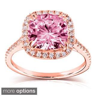 Annello 14k Gold Pink Cushion-cut Moissanite and 1/4ct TDW Diamond Engagement Ring (G-H, I1-I2)
