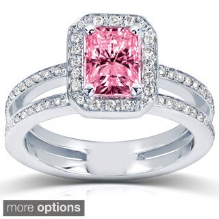14k White or Rose Gold Pink Radiant-cut Moissanite and 1/3ct TDW Diamond Engagement Ring (G-H, I1-I2)