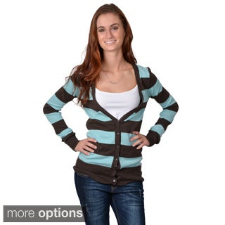 Journee Collection Juniors' Striped Button-up Cardigan