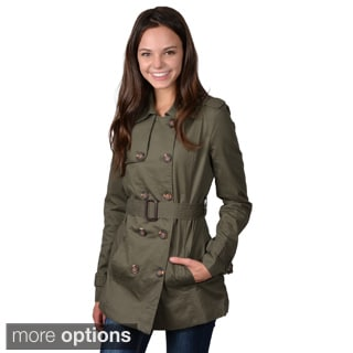 Journee Collection Junior's Double-breasted Belted Trench Coat