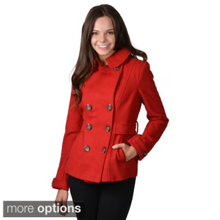 Journee Collection Junior's Collared Double-breasted Coat