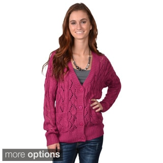 Journee Collection Juniors' Knit Button-up Cardigan