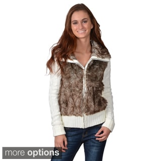 Journee Collection Juniors Faux Fur Zip-up Sweater