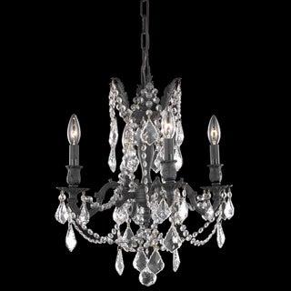 Somette Zurich 4-light Royal Cut Crystal and Dark Bronze Chandelier