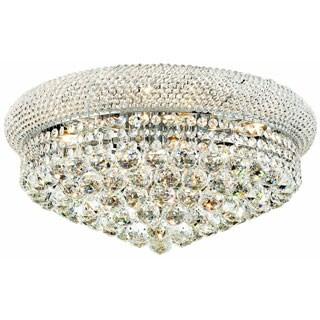 Somette Geneva 10-light Royal Cut Crystal and Chrome Flush Mount