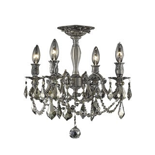 Somette Zurich 4-light Royal Cut Gold Crystal and Pewter Flush Mount
