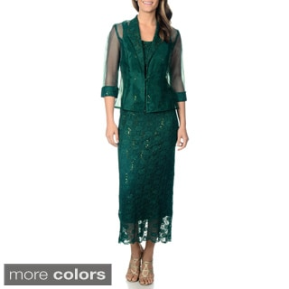 R&M Richards Women's 2pc Long Jacket Dress