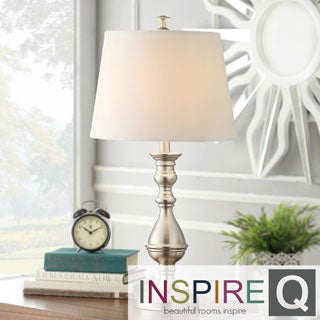 Inspire Q Kohala 3-way Satin Nickel Contoured Base 1-light Accent Table Lamp