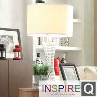 Inspire Q Kohala 3-way 1-light Clear Glass Contoured Base Accent Table Lamp