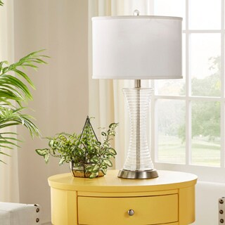 MID-CENTURY LIVING Vincennes 3-way 1-light Clear Glass Contoured Base Accent Table Lamp